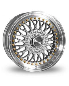 Dare Wheels DR-RS 18 X 8.0  ET 35 / 5x100 / 5x112 / 73.1 Silver/Machine Lip w/Gold Rivets