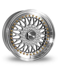 Dare Wheels DR-RS 18 X 9.5  ET 38 / 5x100 / 5x112 / 73.1 Silver/Machine Lip w/Gold Rivets